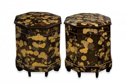 Black and Gold Lacquered Kaioke Pair