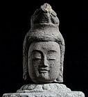 Stone Head Sho-Kannon Bosatsu Jizo Buddha Edo 18 c.