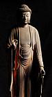Amida Nyorai Buddha Japanese Wooden Sculpture Edo 17 c.