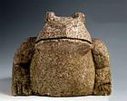 Granite Stone Frog Toad Kaeru Lantern Jizo Showa 20 c.