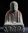 Granite Stone Jizo Bosatsu Buddha Kannon Edo 18 c.