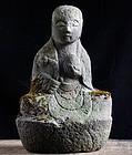 Stone Jizo Bosatsu Bodhisattva Buddha Edo 18 c.