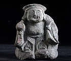 Stone Daikokuten Shichifukujin Lucky God Edo 19 c.