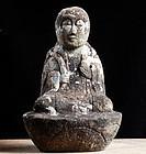Japanese Stone Sculpture Jizo Bosatsu Late-Edo 19 c.