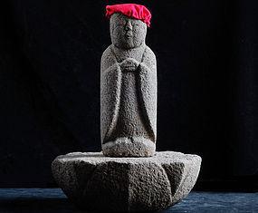 Stone Jizo Bosatsu with Lotus-Form Dais Edo 18 c.