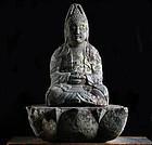 Stone Sho-Kannon Bosatsu w/ Lotus-Form Dais Edo 18/19 c