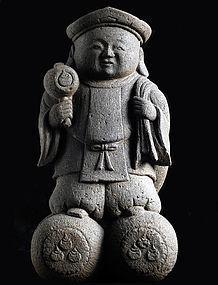 Stone Daikokuten Shichifukujin 7 Lucky Gods Edo/Meiji