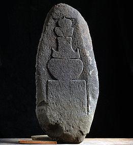 Stone Gorinto 5-Tiered Stupa Pagoda in Relief 16/17 c.