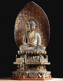 Gilt-Wood Amida Nyorai Buddha Edo 17/18 c.