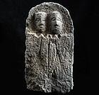 Stone Double-Jizo Dosojin Road Guardian mid-Edo