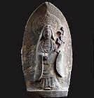 Stone Kaiko-no-Kami Silkworm Goddess Shinto Meiji/Taisho