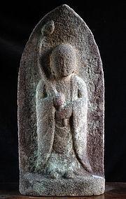 Stone Jizo Bosatsu Bodhisattva Mid-Edo 17/18 c.