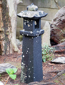 Stone (Basalt) Lantern in Two Pieces Late-Edo/Meiji 19 c.