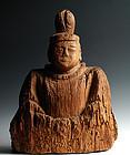 Seated Wooden Shinto God Kami Shinzo Kamakura 13/14 c.