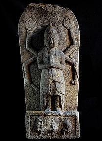 Stone Koshinto Stupa Shomen-Kongo 3 Monkeys Edo 18 c.