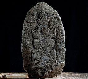 Stone Gorinto 5-Tiered Stupa Pagoda Relief 16/17 c.
