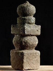 Stone Gorinto 5-Tiered Stupa Pagoda Early-Edo 17 c.