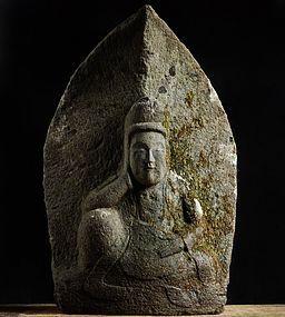 Stone Sculpture Nyoirin Kannon Bosatsu Edo 18/19 c.