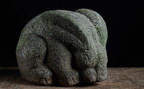 Granite Stone Hare Bunny Rabbit Meiji ca. 1900