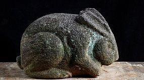 Stone Rabbit Hare Usagi Garden Ornament Edo 19 c.