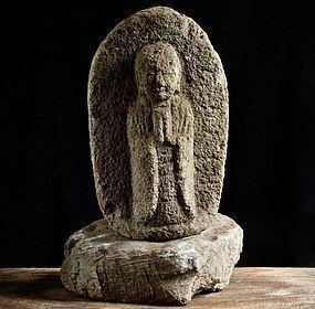 Stone Jizo Bosatsu with Natural-form Dais Edo 18 c.