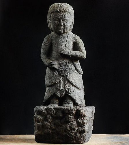 Stone Seitaka Douji Fudo-Myo Attendant Kyoho 7 (1722) Edo