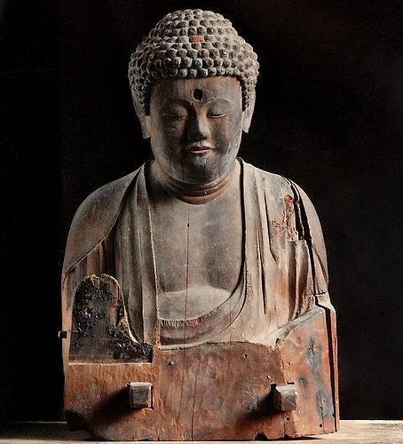 Wooden Seated Buddha Fragment Early-Kamakura ca. 1200