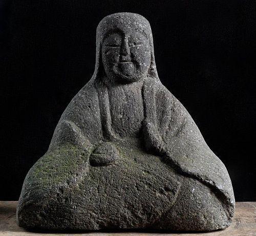 Stone Female Buddhist Deity Kichijoten (?) Edo Period 18/19 c.