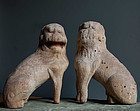 Wooden Koma-Inu Korean Dogs Guardian Beasts Muromachi 15 c.