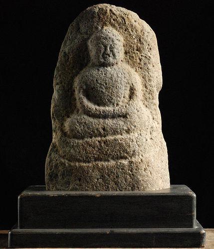 Stone Amida Nyorai Buddha w/ Display Stand Muromachi 16 c.