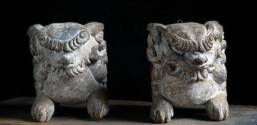 Wooden Shishi Lion Pair mid-Edo Period 18 c.