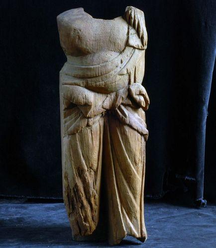 Wooden Fudo-Myo Torso Fragment Kamakura Period 13 c.