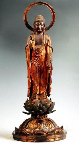Gilt-Wood Amida Nyorai Buddha Amitabha Zushi Edo ca. 1700