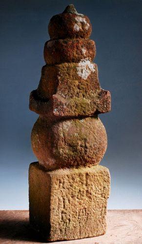 Stone Gorinto 5-Tiered Stupa Pagoda Buddha Jizo 17 c.