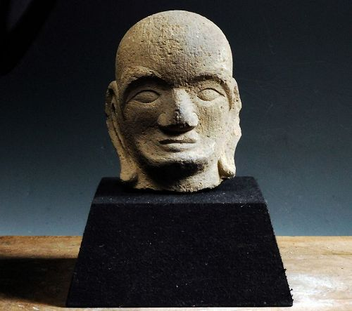 Japanese stone sculpture head bust butto Rakan Arhat Edo 17/18 c.