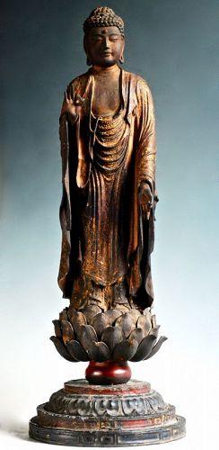 Wooden Standing Amida Buddha Nyorai Momoyama/early-Edo 16 c.