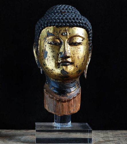 Gilt-Wood Buddha Head Butto Kamakura Period 13 c.