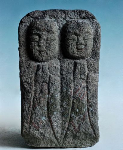 Stone Double-Jizo Dosojin Road Guardian Edo 18/19 c.