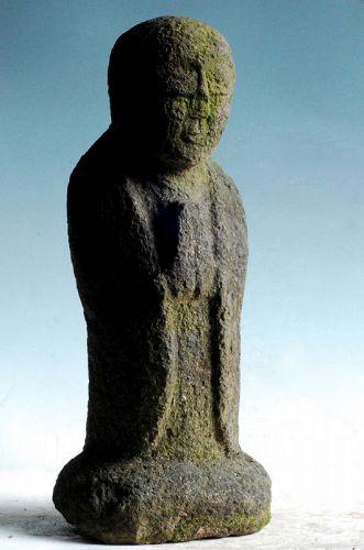 Stone Standing Jizo Bosatsu Gassho mid-Edo ca. 1700