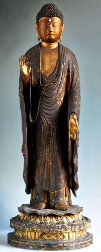 Gilt-Wood Amida Nyorai Buddha Nanbokucho~early-Muromachi ca. 1400