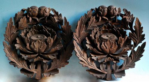 Pair of Wooden Decorative Plaques with Peony Motif Botan Early-Edo 17c