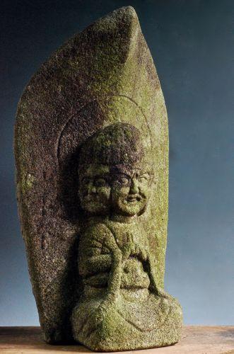 Stone 3-men Bato-Kannon Bosatsu 3-Faced Horse-head Kannon Edo 19 c.