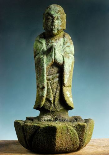 Stone Standing Jizo Bosatsu w/ Lotus Dais Kanpo 3 (1743) Mid-Edo