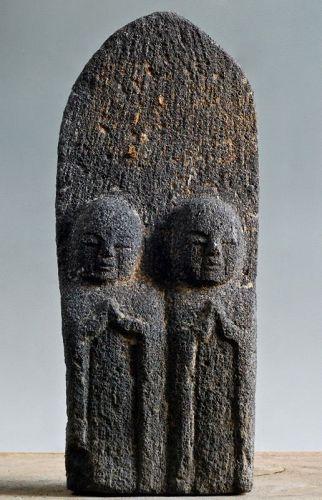Stone Double-Jizo Dosojin Road Guardian Edo Period 18/19 c.
