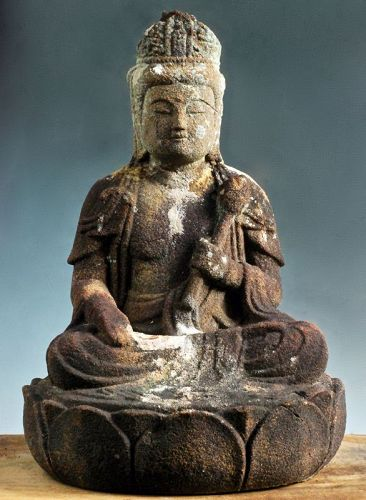 Stone Seated Sho-Kannon Bosatsu Bodhisattva Mid-Edo 18 c.
