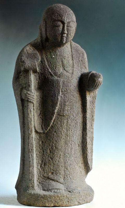 Stone Standing Jizo Bosatsu Bodhisattva Buddha mid-Edo 18 c.