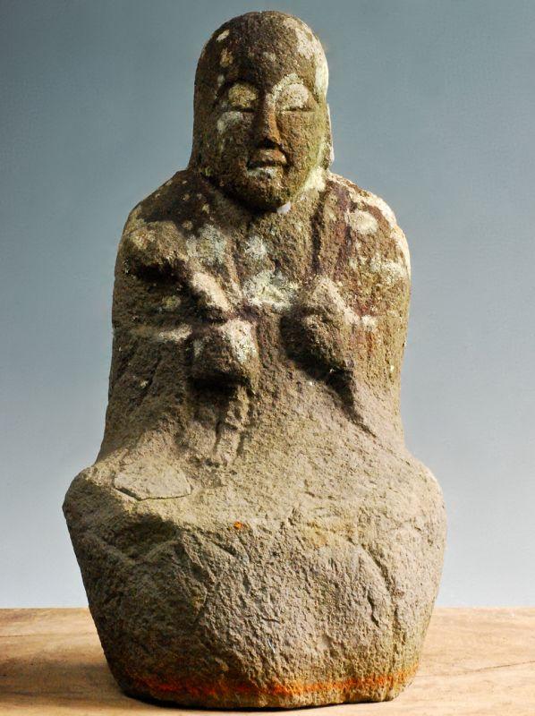 Stone Seated Jizo Bosatsu mid-Edo Period 18 c.