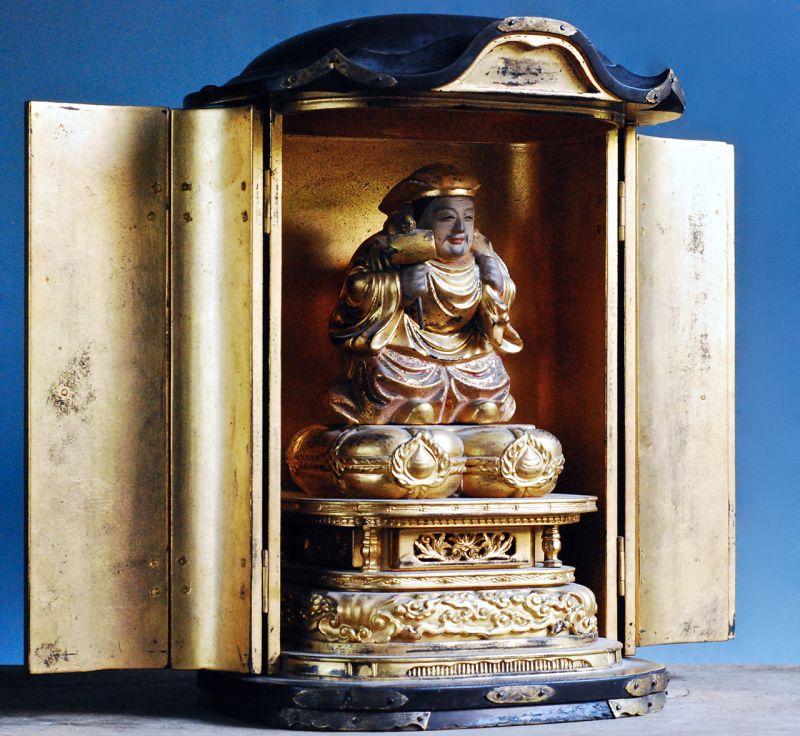 Gilt-Wood Daikokuten Shichifukujin 7 Lucky Gods Zushi Late-Edo 19 c.