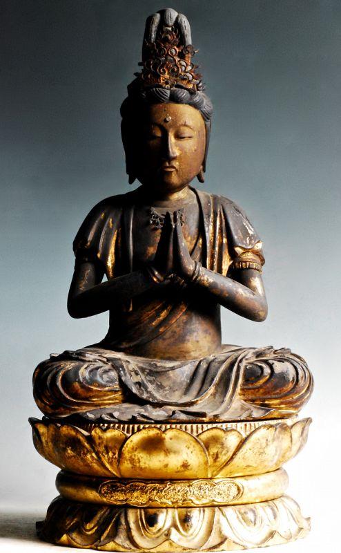 Seated Gilt-Wood Seishi Bosatsu Bodhisattva Mid/late-Edo Period