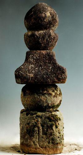 Stone Gorinto 5-Tiered Stupa Pagoda Jizo Buddha 15 c.